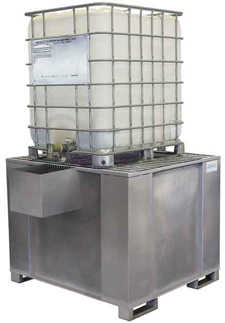 Galvanized Steel 500 Gal IBC w/ Dispensing Well - 500 Gallon Sump