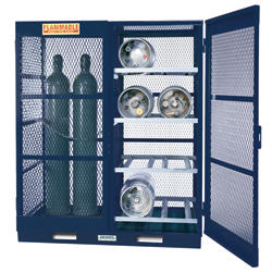 Gas Cylinder Storage with Floor Plate - Horizontal - 16 Bottles - Painted