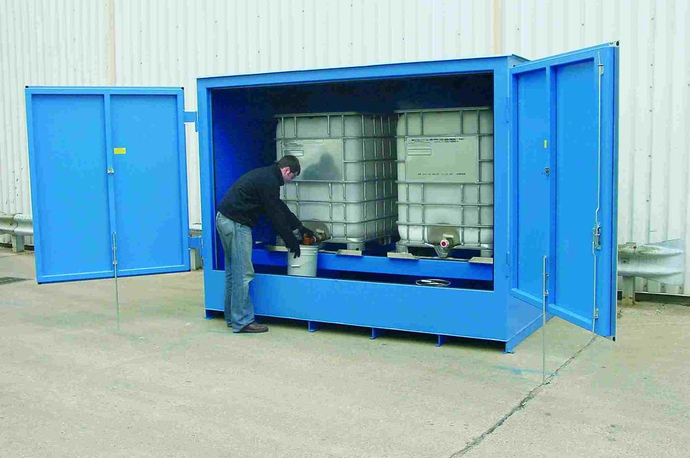 IBC - Non-Combustible - 90 mph Wind Rating - 2 IBC Locker - FM Approved - Dispensing