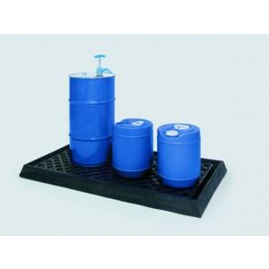 Poly Lab Spill Tray - Low Profile with Grating (Black)