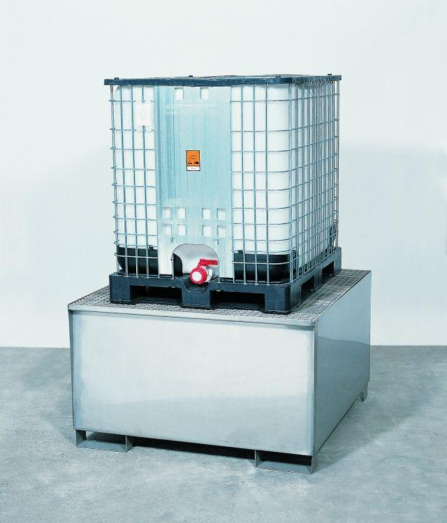 Spill Sump - Stainless Steel 350 Gal IBC - 60 x 53 - Stainless steel grating