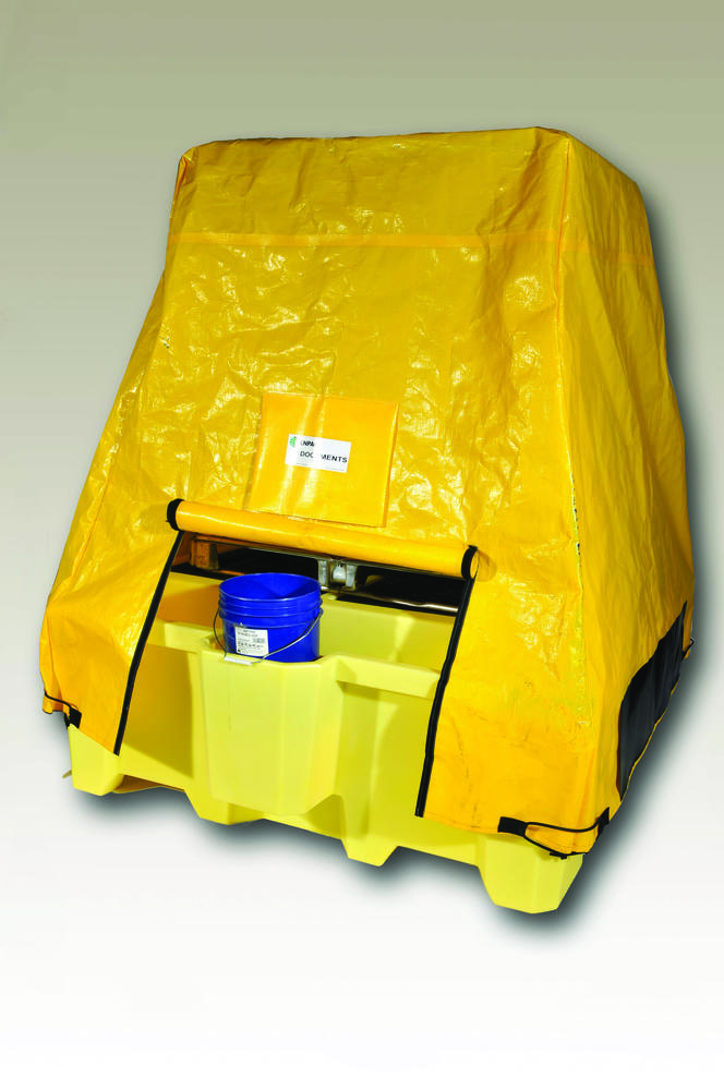 Tarp Cover for Poly IBC Sump with Dispensing Well