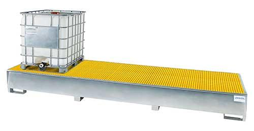 Triple Tote Sump with Fiberglass Grating - 3 IBC - Stainless