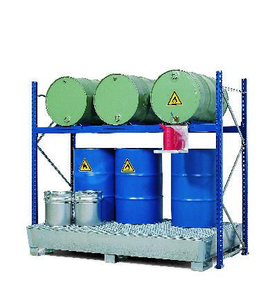 Drum Rack with Spill Sump - 3 Drum Horizontal - 6 Drum Vertical - 2 Levels