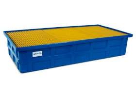 IBC Spill Containment Pallet - Poly Construction - 2 IBC Capacity - Fiberglass Grating-w280px