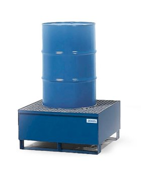 Spill Containment Pallet - 1 Drum Capacity - Removable Galvanized Grating - Painted Steel-w280px