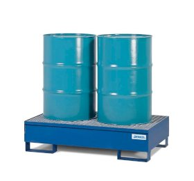 Spill Containment Pallet - 2 Drum Capacity - Removable Galvanized Grating - Painted Steel-w280px