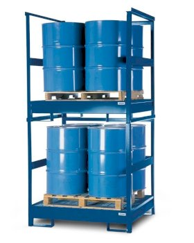 Transport Spill Containment Pallet - 4 Drum Capacity - Stackable - Side Rails - Painted Steel-w280px