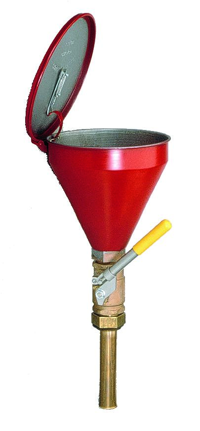"FM Approved - Flammable Waste Liquid Drum Funnel - Funnel w/ Check Valve - 32"" Brass Tube"