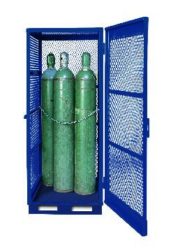 Gas Cylinder Storage with Floor Plate - Vertical - 5 to 10 Cylinders - Painted