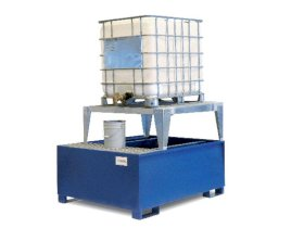 IBC Spill Containment Pallet - 1 IBC Tote - Platform & Stand Included - Painted Steel-w280px
