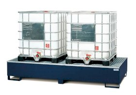 IBC Spill Containment Pallet - Double IBC Tote - Painted Steel - Forklift Access-w280px
