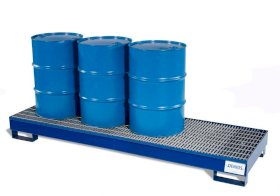Spill Containment Pallet - 4 Drum Inline Capacity - Removable Galvanized Grating - Painted Steel-w280px